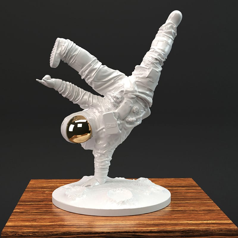 One Small Step Astronaut Sculpture by Whatshisname
